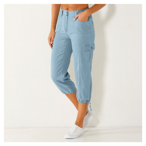 Blancheporte 3/4 denimové kalhoty s úpletový pasem sepraná modrá