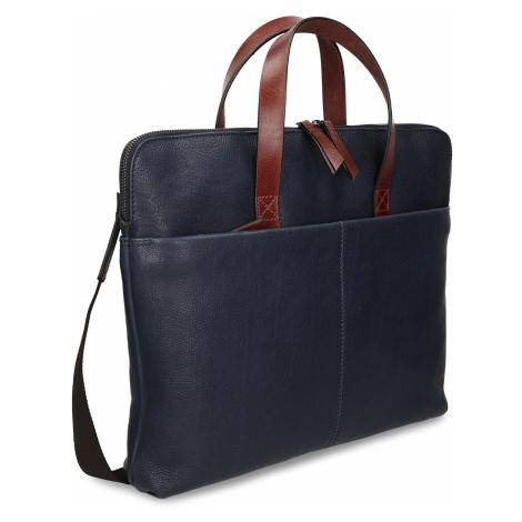 Modrá pánská kožená taška na notebook Baťa