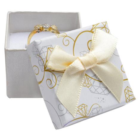 JKBOX Krémová papírová krabička s mašlí Diamonds na prsten nebo náušnice IK013