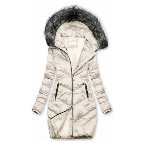 Prošívaná zimní bunda krémová Butikovo