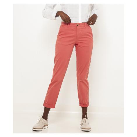 CAMAIEU růžové straight fit zkrácené kalhoty Camaïeu