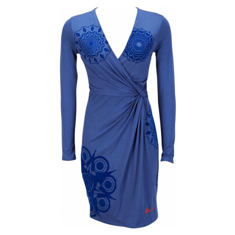 Modré šaty Desigual-semišový vzor