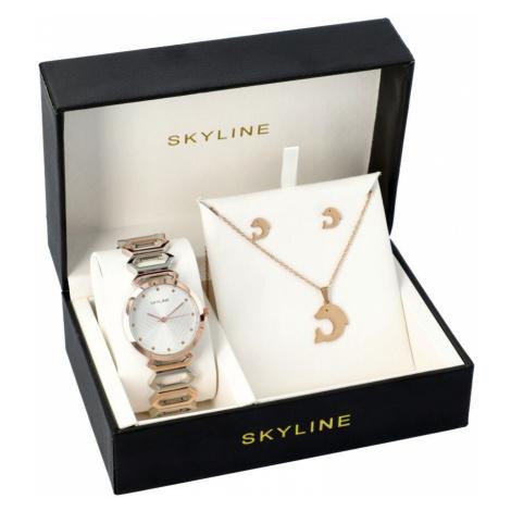 SKYLINE dámská dárková sada hodinek ve zlaté barvě s náhrdelníkem 5222