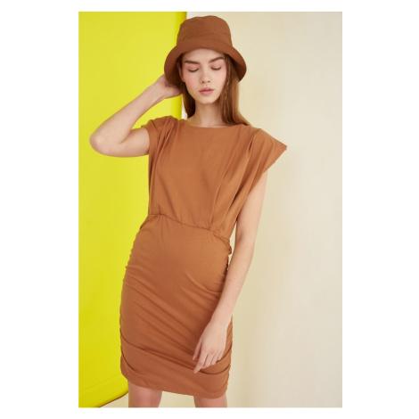 Trendyol Camel Pucker Detailed Knitted Dress