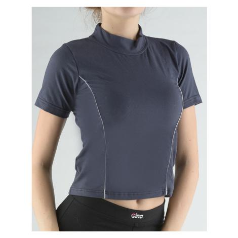 GINA Tričko se stojáčkem, krátkým rukávem, zdobení paspulemi 98005-DGMLGB tm.popel-šedobílá