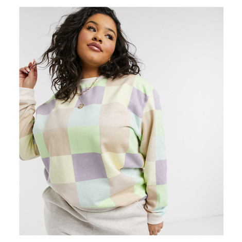 Daisy Street Plus relaxed sweatshirt in patchwork pastel co-ord-Multi