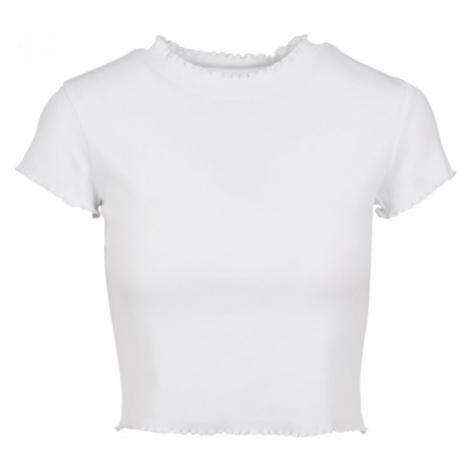 Ladies Cropped Rib Tee - white Urban Classics