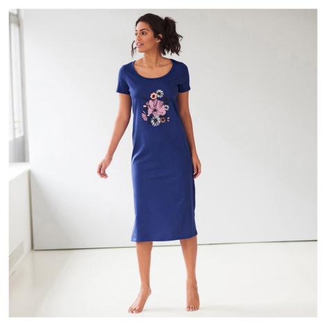Blancheporte Noční košile s krátkými rukávy, sada 2 ks nám.modrá/purpurová