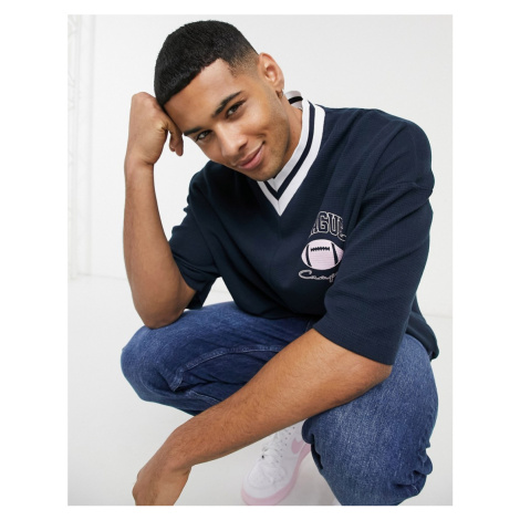 ASOS DESIGN oversized t-shirt in navy waffle with tipped v neck & chest print