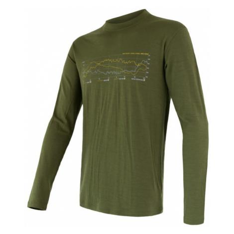 Pánské tričko SENSOR Merino Active PT Track dl. rukáv safari