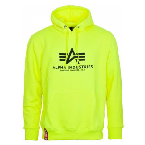 Alpha Industries Mikina Basic Hoody neon yellow