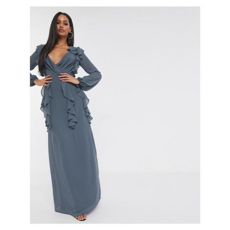 TFNC long sleeve v neck maxi dress-Grey