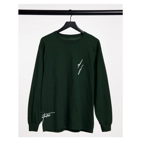 ASOS Dark Future long sleeve t-shirt in green with logo print