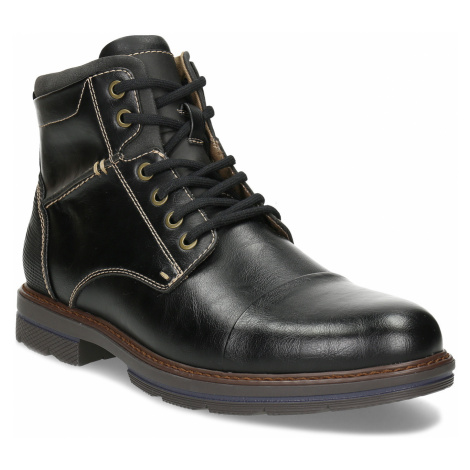 Pánská černá kotníčková obuv s prošitím Baťa