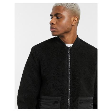 ASOS DESIGN teddy bomber jacket in black