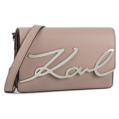 Růžová kožená kabelka - KARL LAGERFELD | Signature