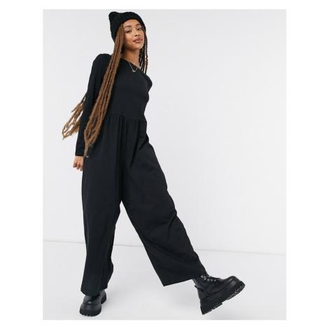 ASOS DESIGN long sleeve smock slub jersey jumpsuit-Black
