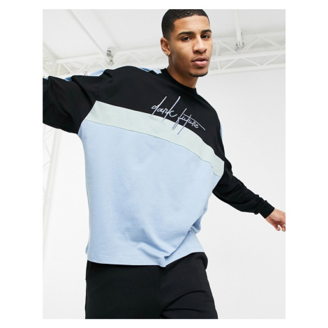 ASOS Dark Future oversized long sleeve t-shirt in cut and sew with chest logo-Blue