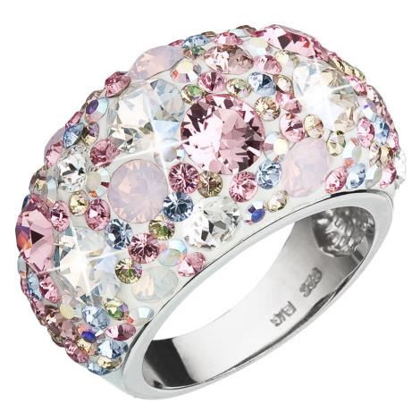 Evolution Group Stříbrný prsten s krystaly Swarovski růžový 35028.3