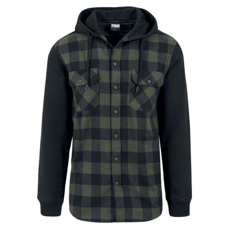 Urban Classics Flanelová kostkovaná mikina s kapucí košile cerná/zelená