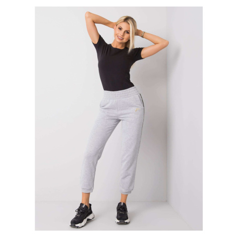 FOR FITNESS Gray and black trousers with stripes Fashionhunters