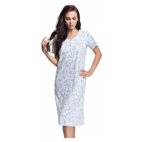 Dámská noční košile Natalia bílá s modrým květinovým vzorem Luna