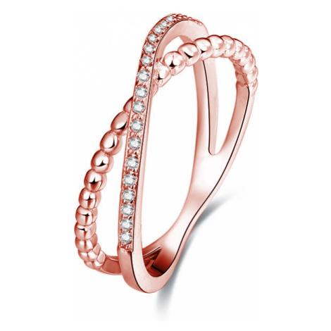 Beneto Růžově pozlacený dvojitý prsten ze stříbra AGG195