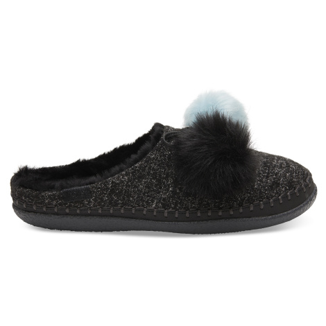 Black Multicolor Felt/Pom Pom Women's IVY slippers Toms