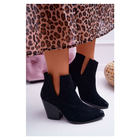 Women's Boots On High Heel Spring Suede Leather Black Nicole 2430