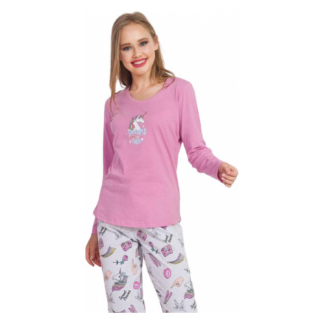Dámské pyžamo dlouhé Vienetta Secret Dreams | starorůžová