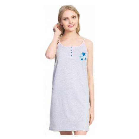 Dámská noční košile na ramínka Vienetta Secret Hvězdička   světle šedá