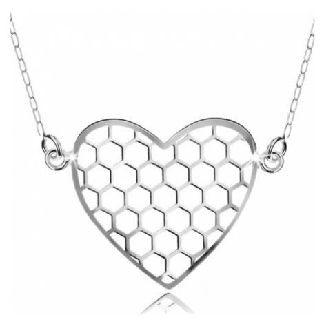 Stříbrný náhrdelník 925, přívěsek s řetízkem, šestiúhelníky v srdíčku Šperky eshop
