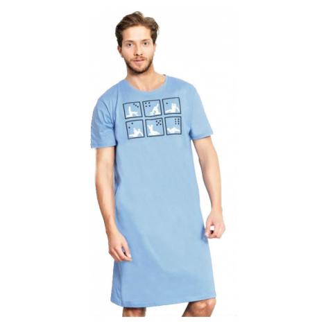 Pánská noční košile s krátkým rukávem Vienetta Secret Kamasutra | světle modrá
