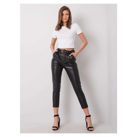 Černé kalhoty z umělé kůže FPrice