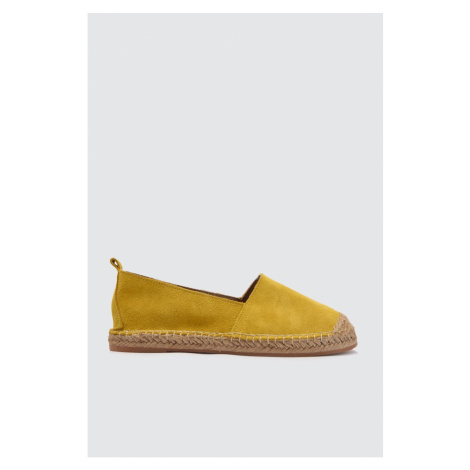 Trendyol Yellow Genuine Leather Straw Bottom Women Flat Shoes