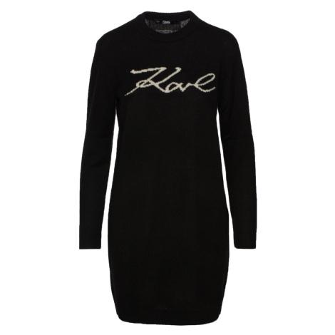 Svetr Karl Lagerfeld Long Signature Sweater - Černá