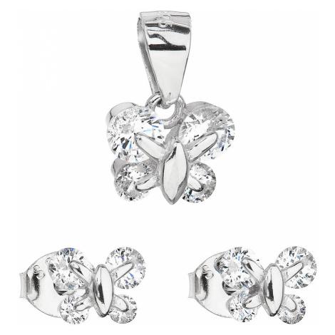 Sada šperků se zirkonem náušnice a přívěsek bílý motýl 19005.1 Victum
