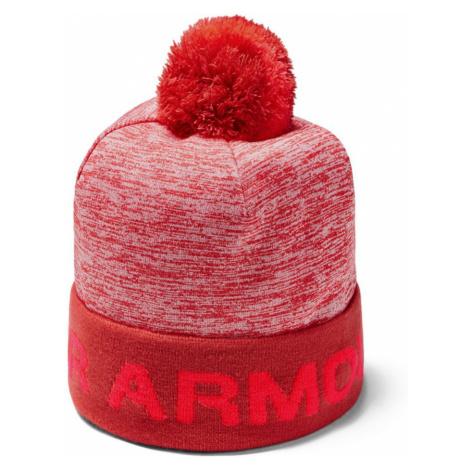Under Armour Boys Gametime Pom Beanie Chlapecký kulich 1345388-646 Martian Red