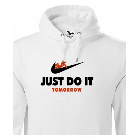 Pánská mikina s potiskem JUST DO IT TOMORROW - parodie na triko NIKE BezvaTriko