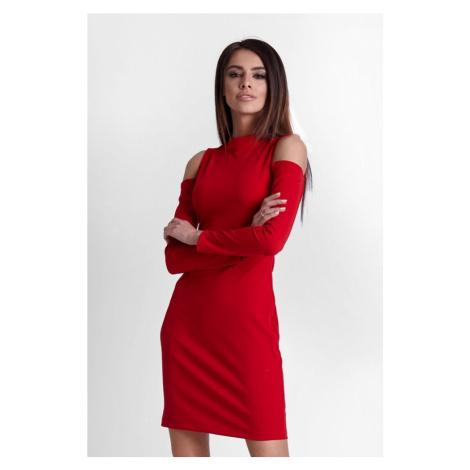 Dámské šaty v červené barvě s odhalenými rameny 243 IVON