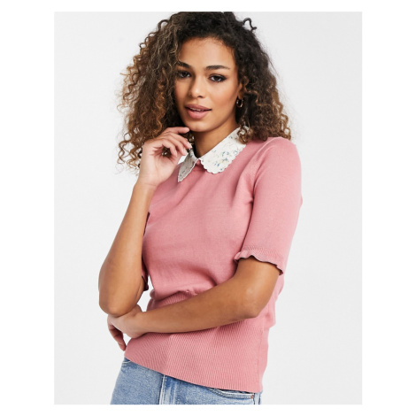 Oasis jumper with collar detail in pink