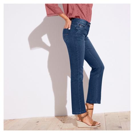 Blancheporte Rovné džíny s push-up efektem, pro nižší postavu modrá