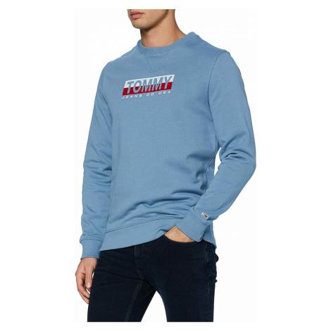 Tommy Jeans pánská modrá mikina Essential Split Box Tommy Hilfiger