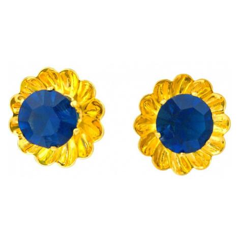 Linda's Jewelry Náušnice Simple Květ pecky chirurgická ocel IN045 Barva: Tmavě modrá
