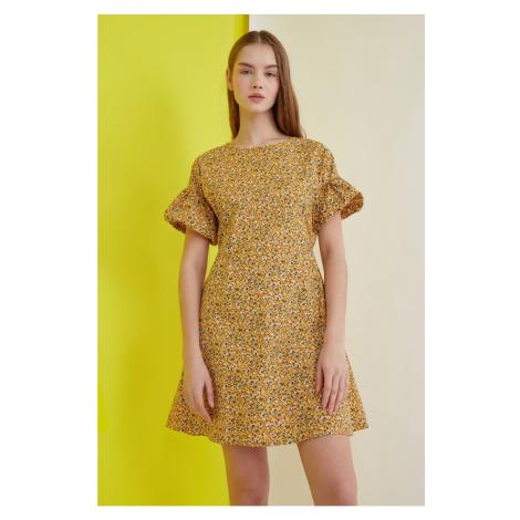 Trendyol Mustard Floral Sleeve Detail Dress