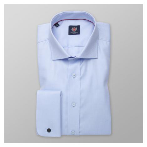 Pánská košile Slim Fit světle modrá s jemným vzorem 12457 Willsoor