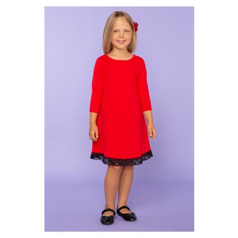 Trapézové dívčí Šaty dětské midi délka 34 rukáv bavlna