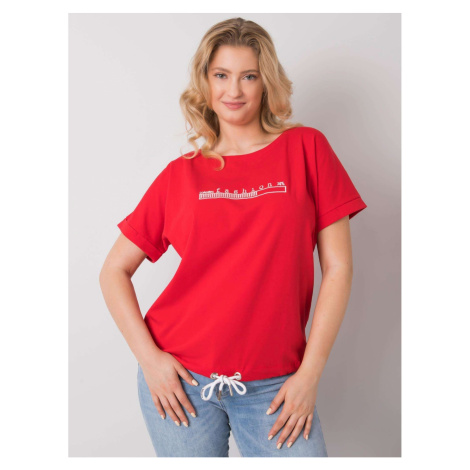 Plus size red blouse with embroidery Fashionhunters
