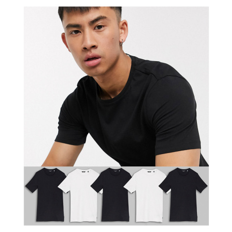 Only & Sons 5 pack muscle t-shirt in black and white-Multi