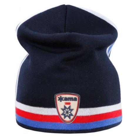 Kama PLETENÁ MERINO ČEPICE A140 modrá - Retro čepice s trikolorou